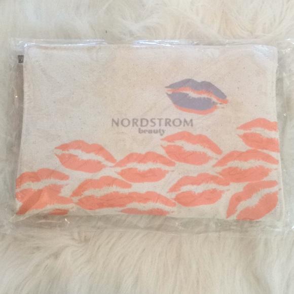 NORDSTROM Beauty CORAL & PURPLE LIPS Burlap Clutch
